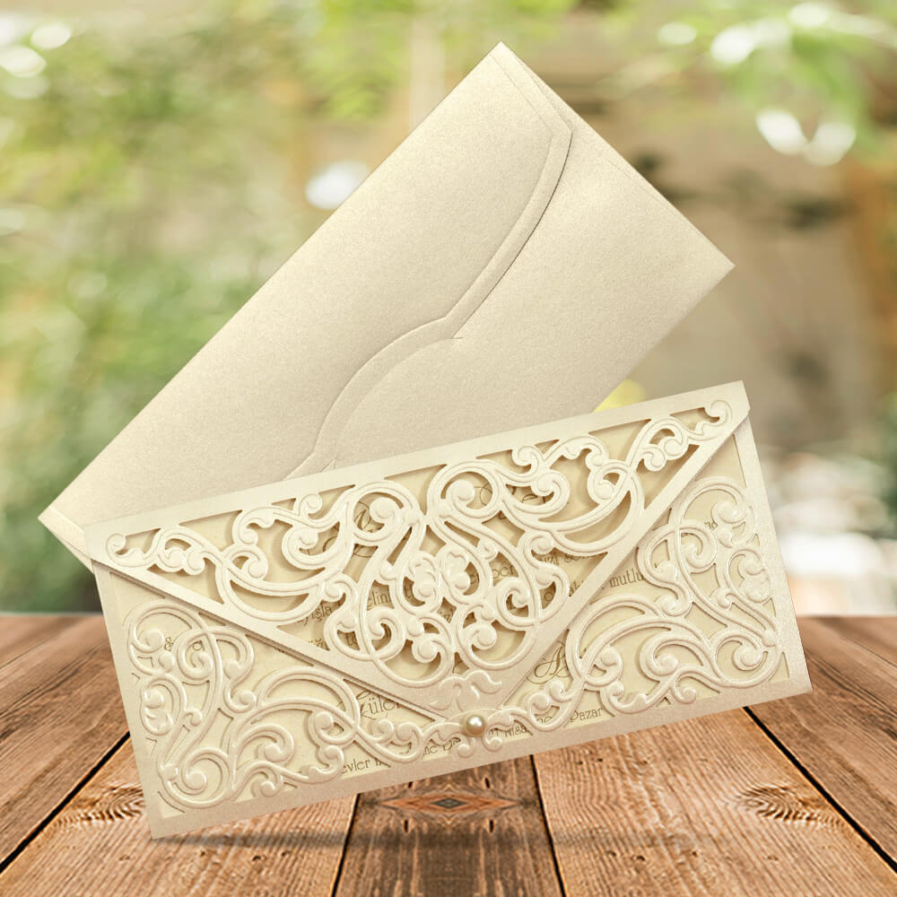 Laser Cut Envelope wedding invitation - weddingcardsuk.com