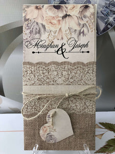 rustic wedding invitations with lace and ribbon - weddingcardsuk.com