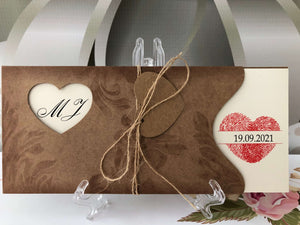 Kraft Heart Wedding Invitations -weddingcardsuk.com