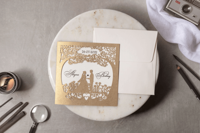 rustic laser cut tree wedding invitation
