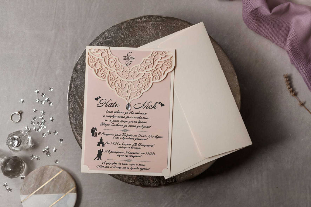 pink laser cut wedding invitations