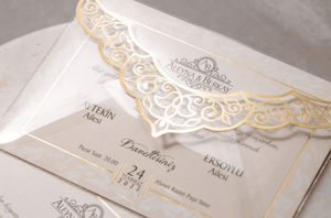 Ivory Acrylic Envelope Asian Wedding Invitation