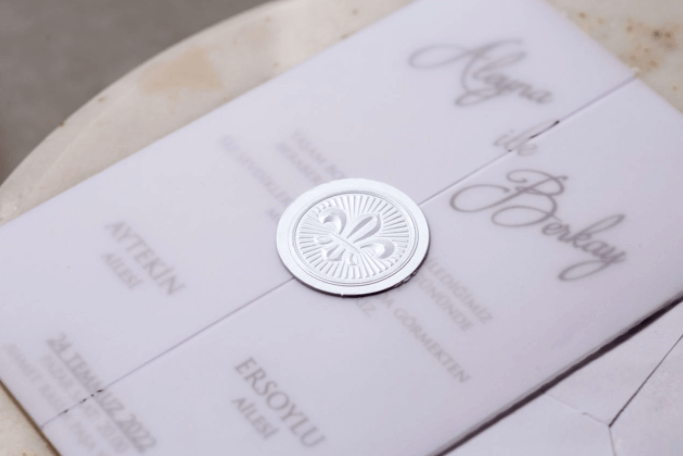 white wax seal vellum wedding invitations