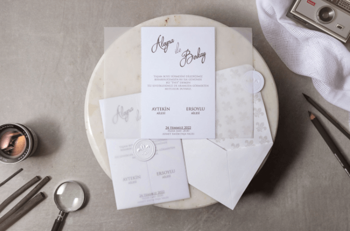 white luxury vellum wedding invitations