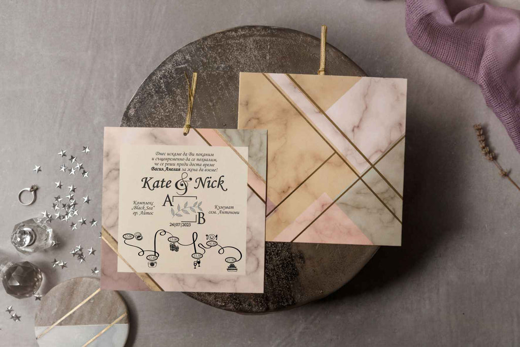 pastel marble geometric wedding invitations