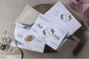 marble gold seal wedding invitations with vellum
