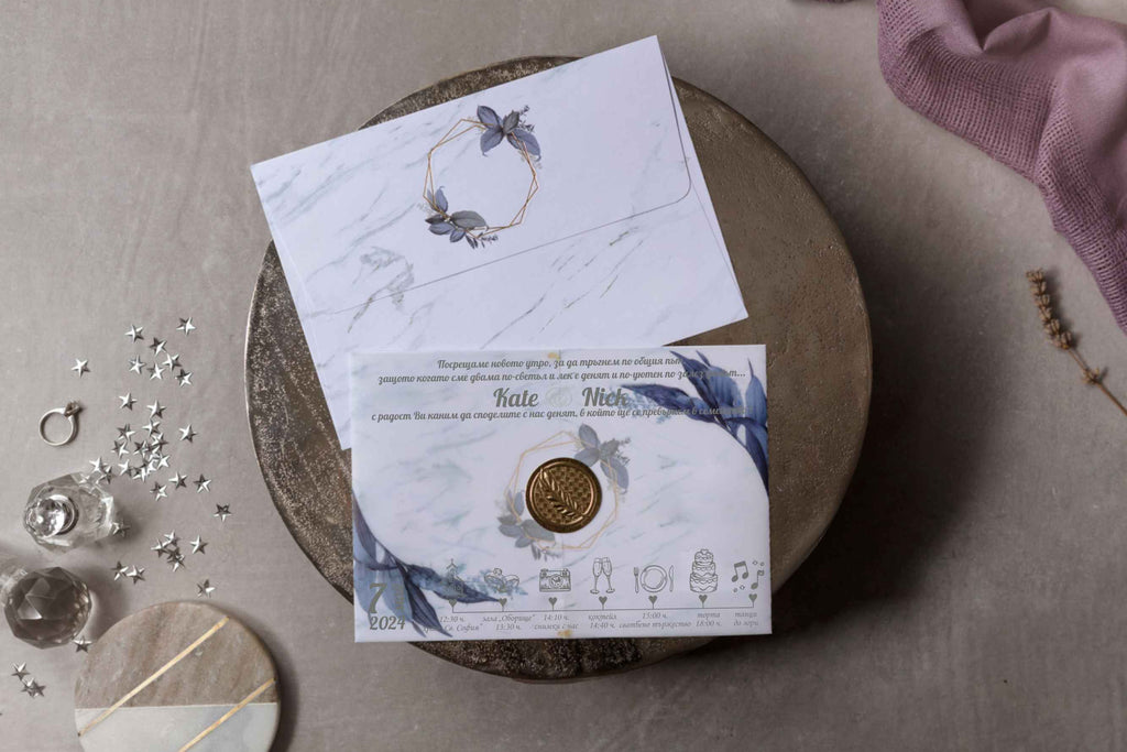 Marble Wedding Invitations With Vellum