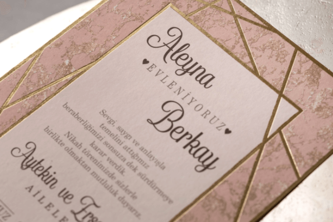 marble geometric wedding invitations