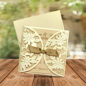 Champagne Color Gatefold Leaser Cut Wedding Invitations - weddingcardsuk.com