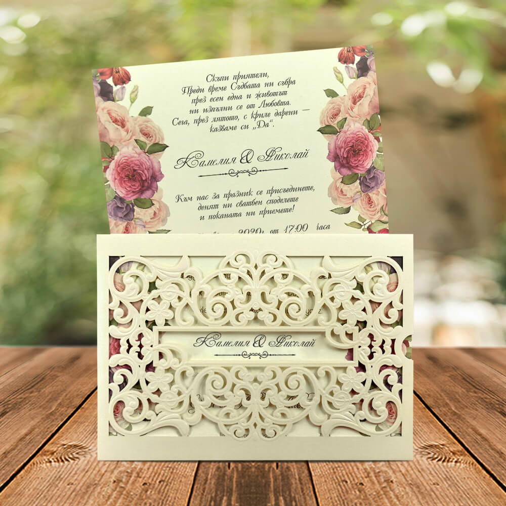 Laser Cut Embossed Envelope Wedding Invitation - weddingcardsuk.com