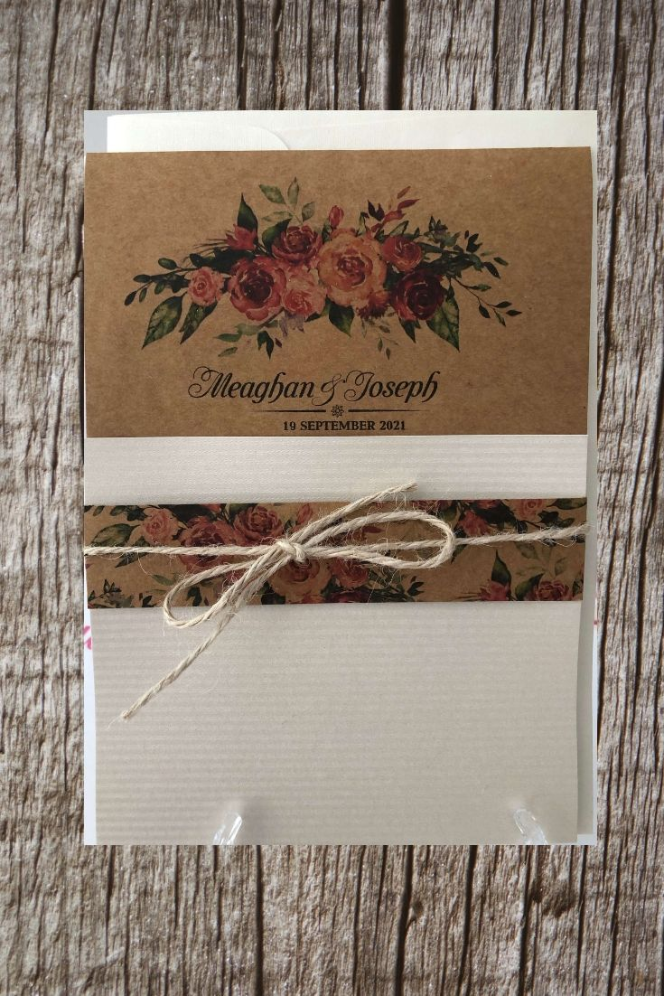 Rustic Pocket Wedding Invitations 992