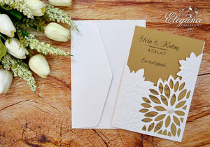 Vintage Laser Cut Pocket Wedding Invitations - weddingcardsuk.com