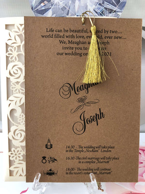 asian laser cut wedding card