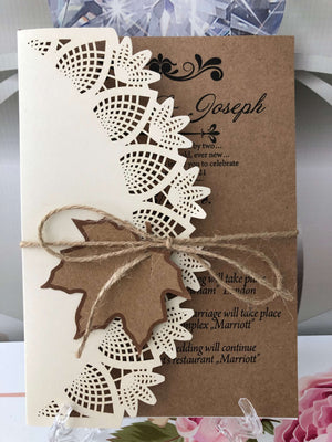 autumn laser cut wedding invitations uk - weddingcardsuk.com