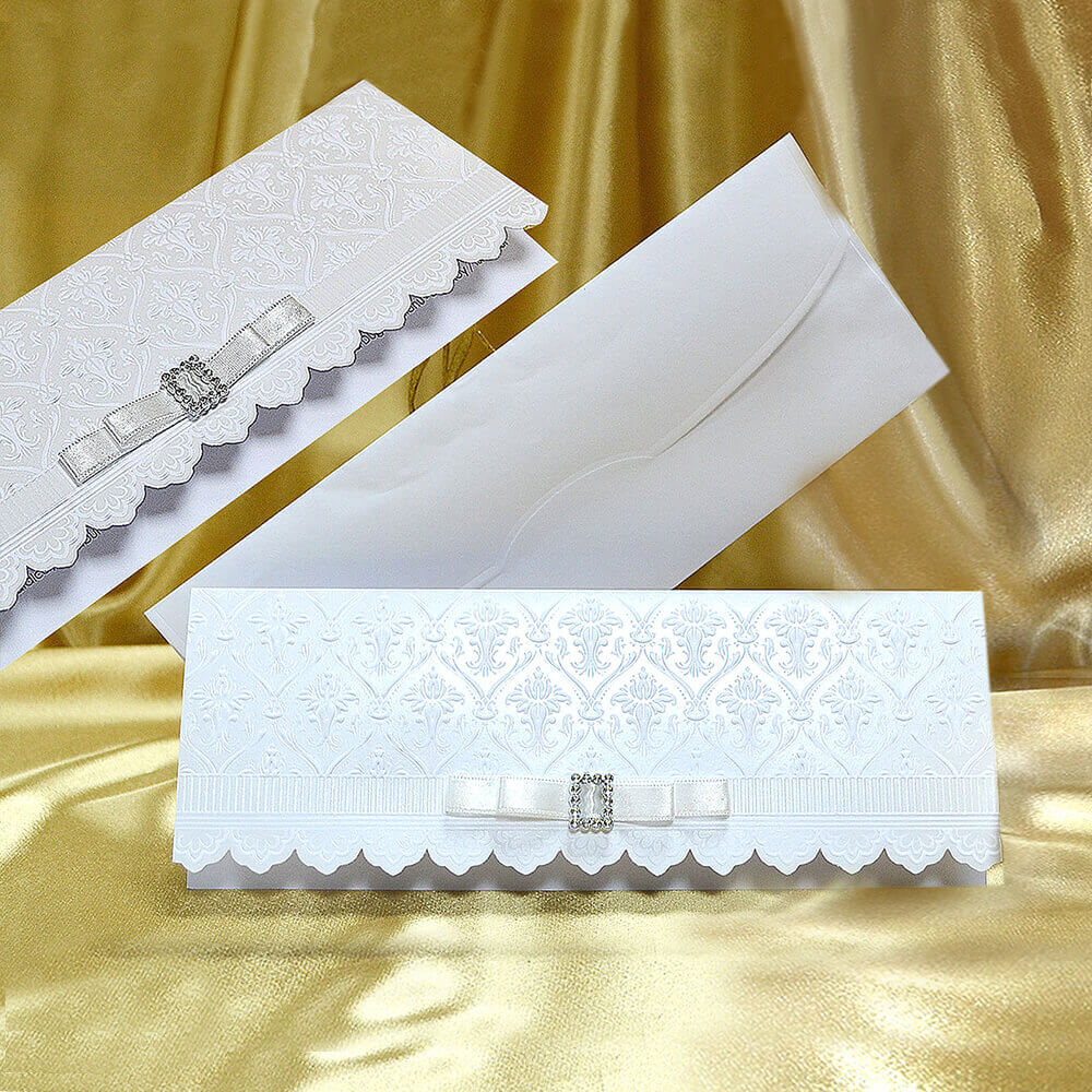 elegant wedding invitation with ribbon