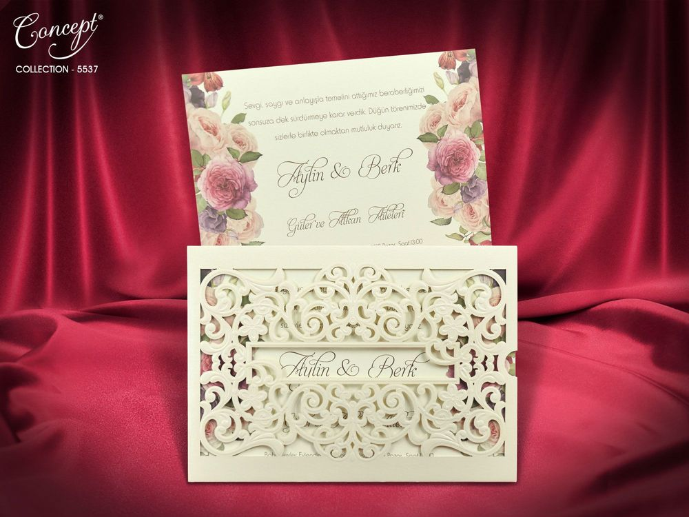Laser Cut Embossed Envelope With Floral Design Wedding Invitation - weddingcardsuk.com