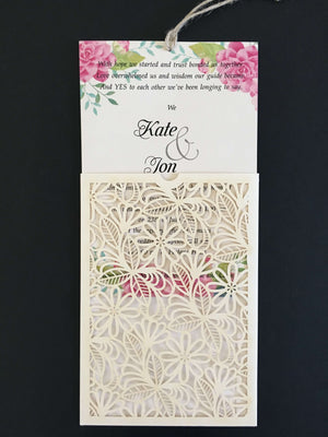 Laser Cut Flower Design Wedding Invitations - weddingcardsuk.com
