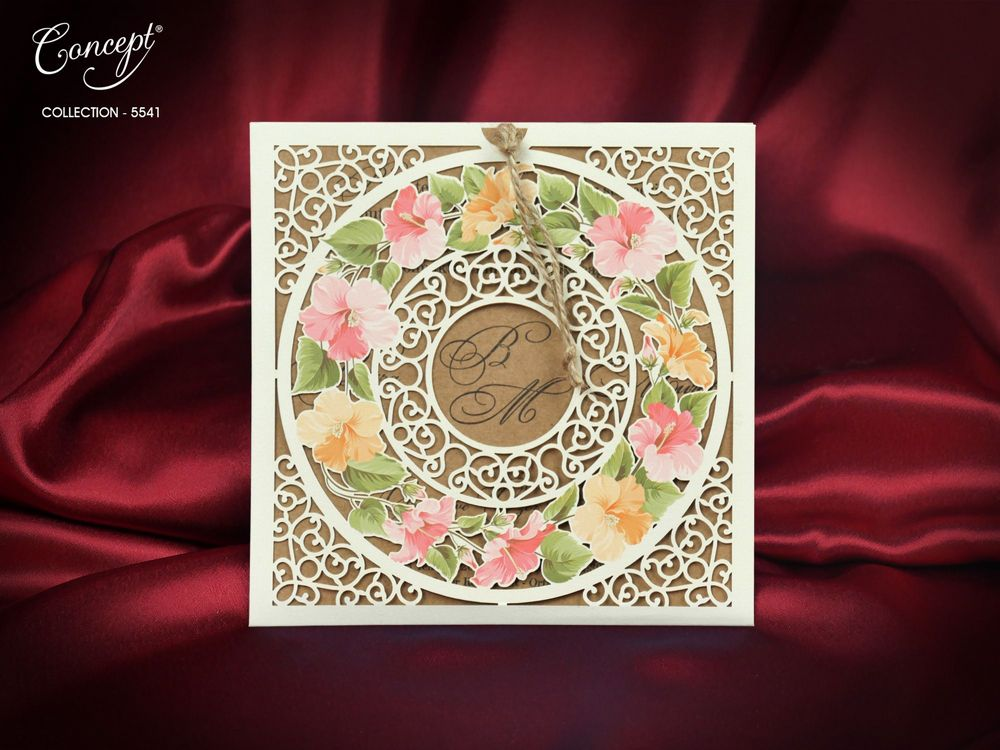 Floral Spring Colors  Laser Cut Wedding Invitation - weddingcardsuk.com