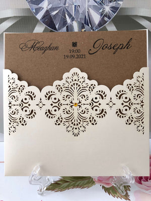 laser cut wedding invitations with pocket