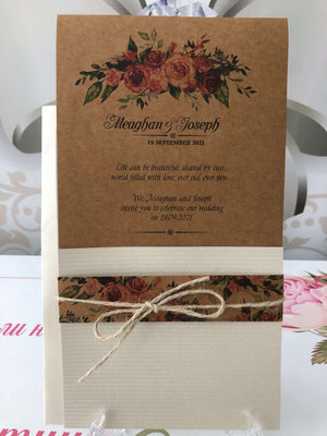 rustic pocket wedding invitations - weddingcardsuk.com