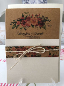 rustic pocket wedding invitations uk - weddingcardsuk.com
