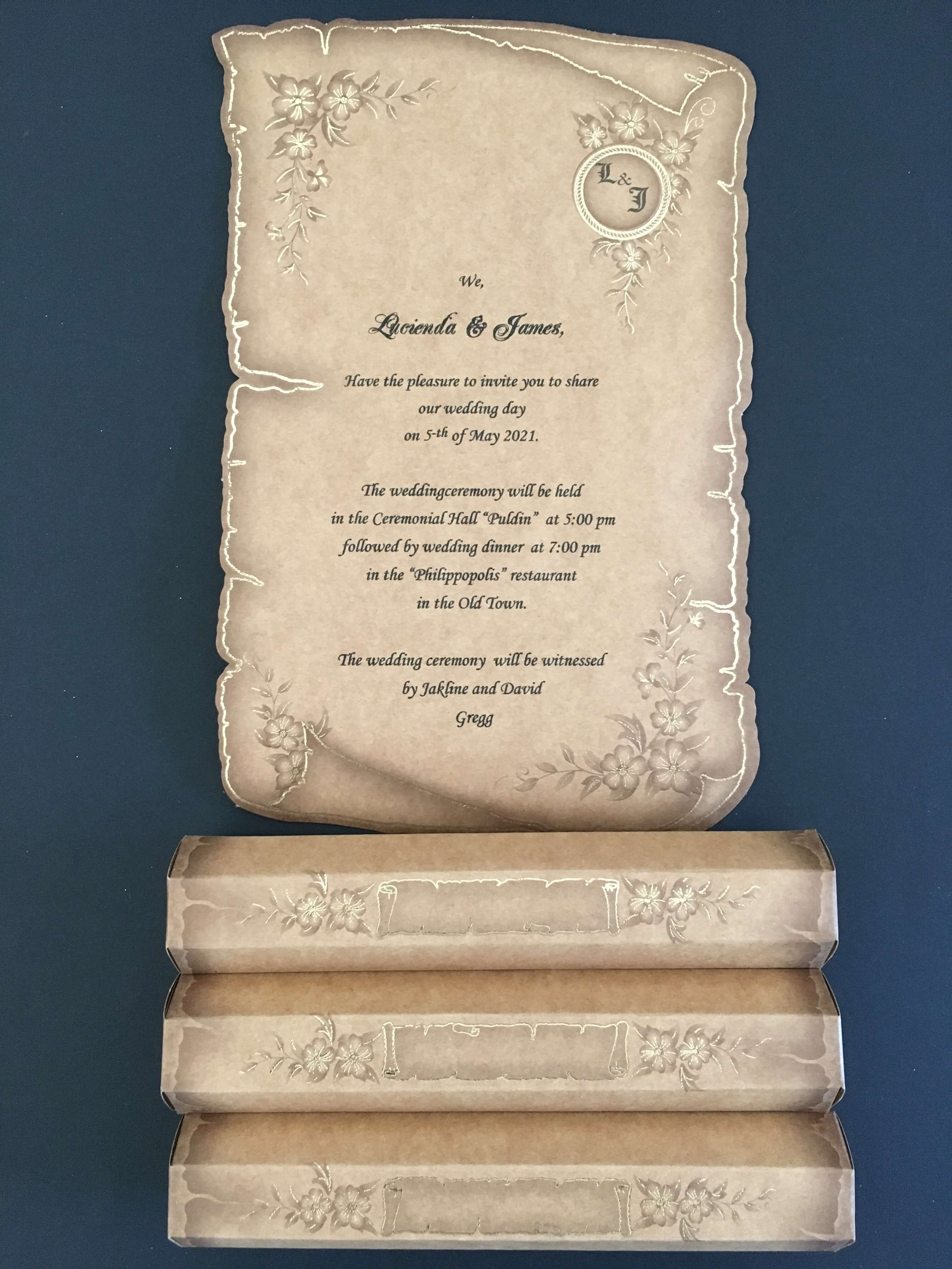 papyrus wedding invitations with gold print
