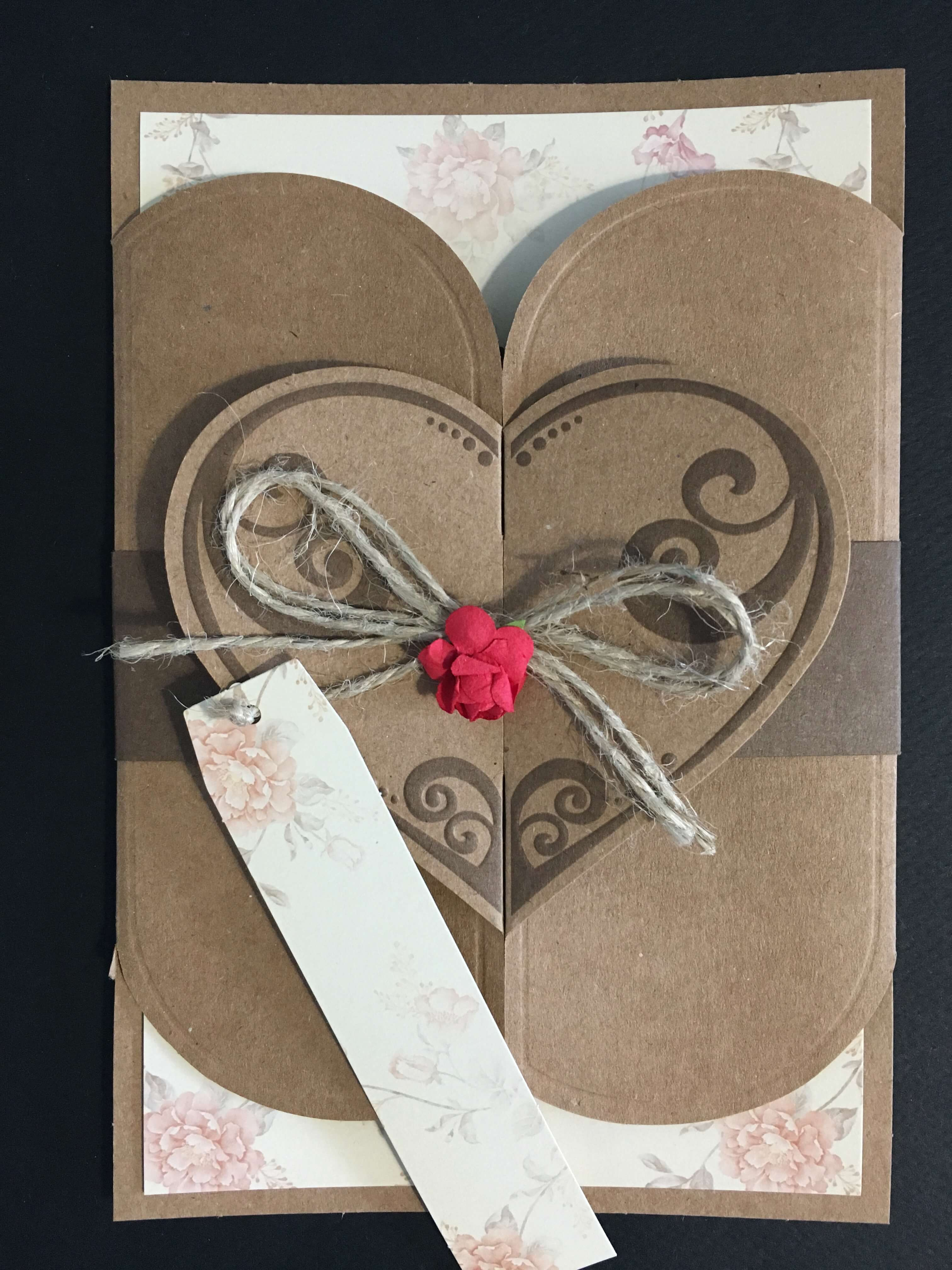 Unique Vintage Heart Shaped Wedding Invitation - weddingcardsuk.com