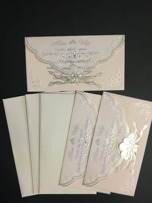 luxury rice paper wedding cards
