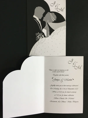 classic black and white wedding invitation cards