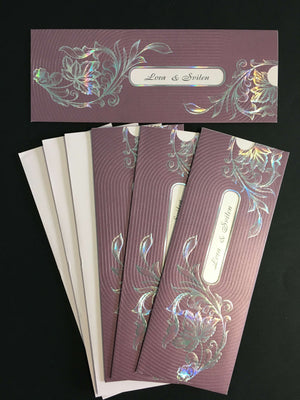 lilac asian wedding invitation cards
