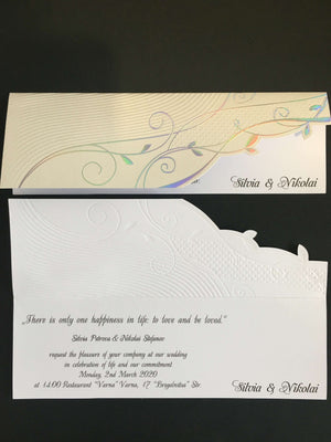 embossed floral wedding invitations