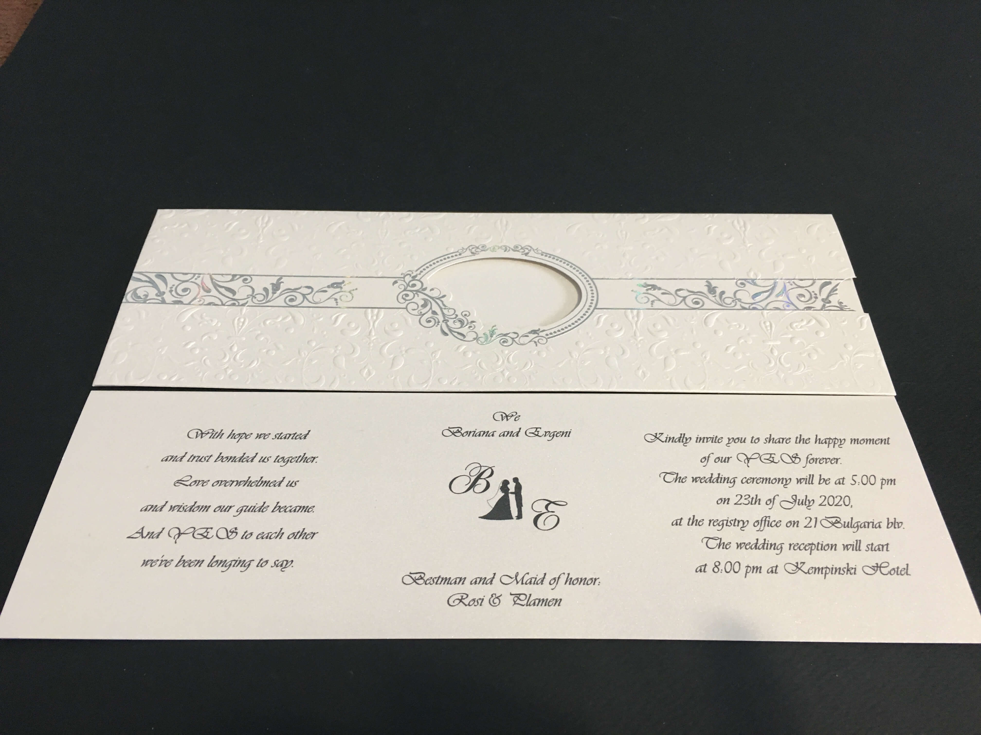 silver embossed wedding invitations