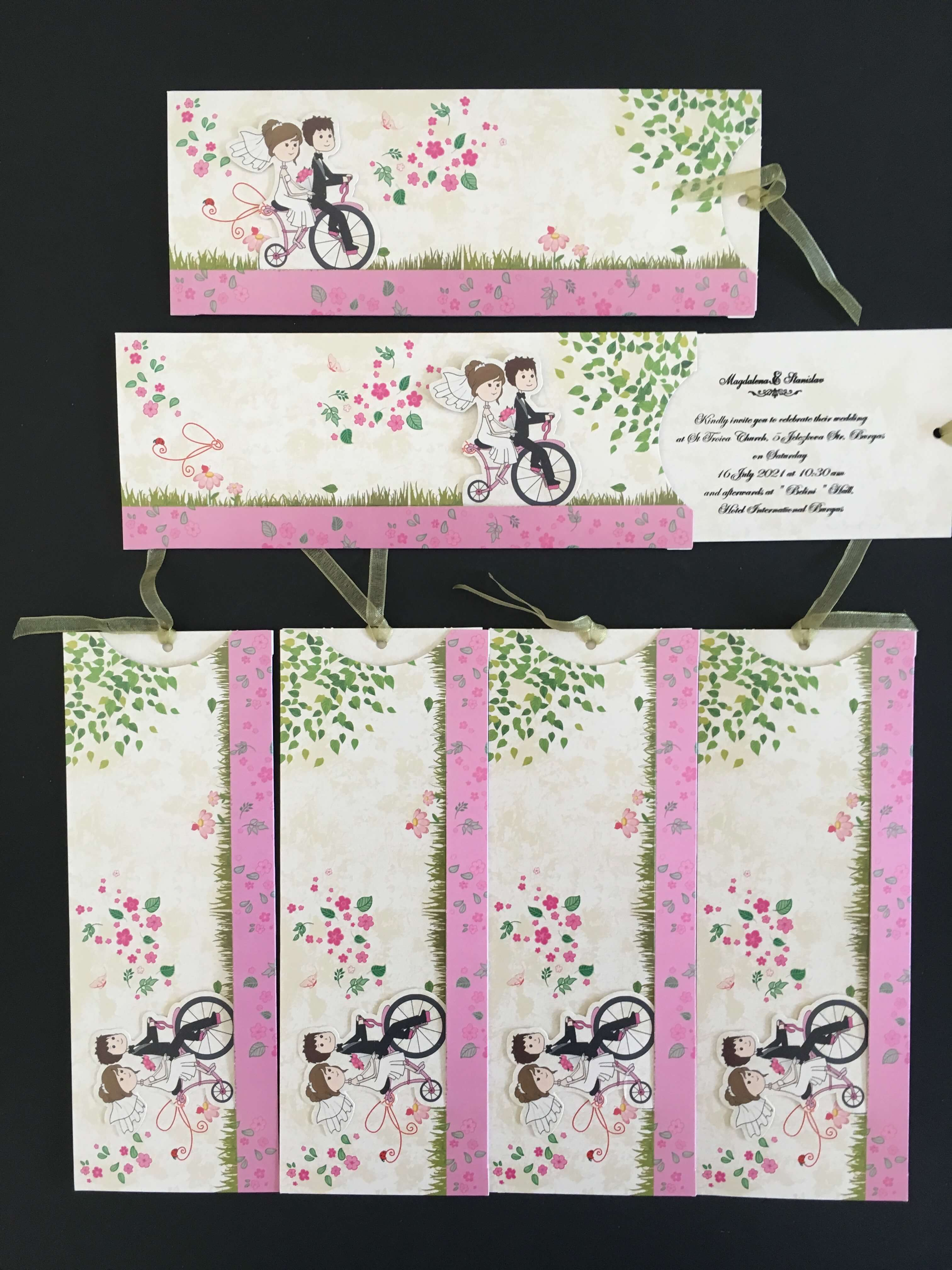 Bicycle Themed 3D Wedding Invitation UK
