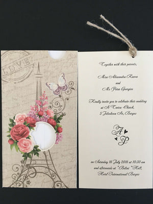 eiffel tower pocket wedding invitations