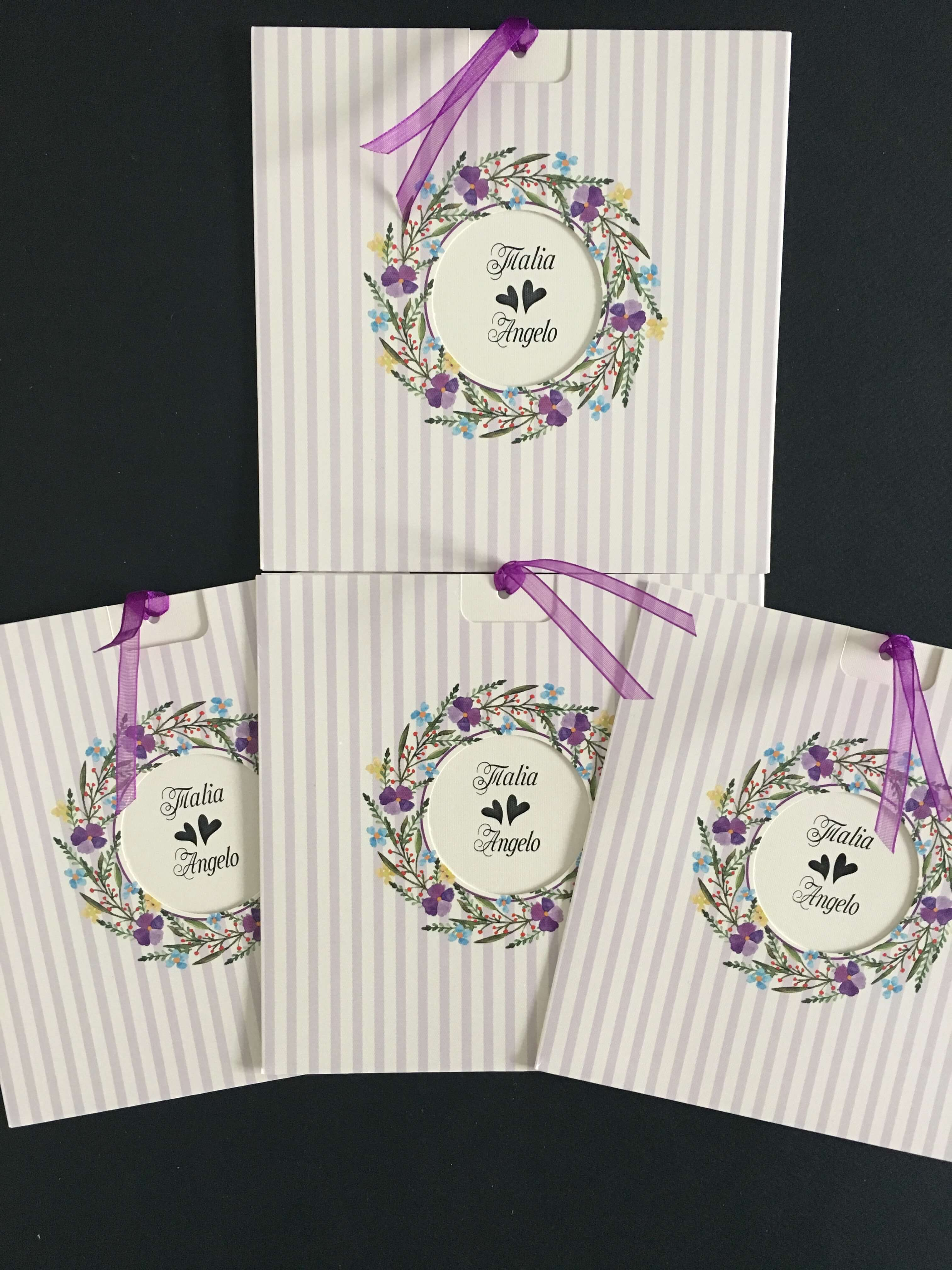 lilac and pink floral  wedding invitations