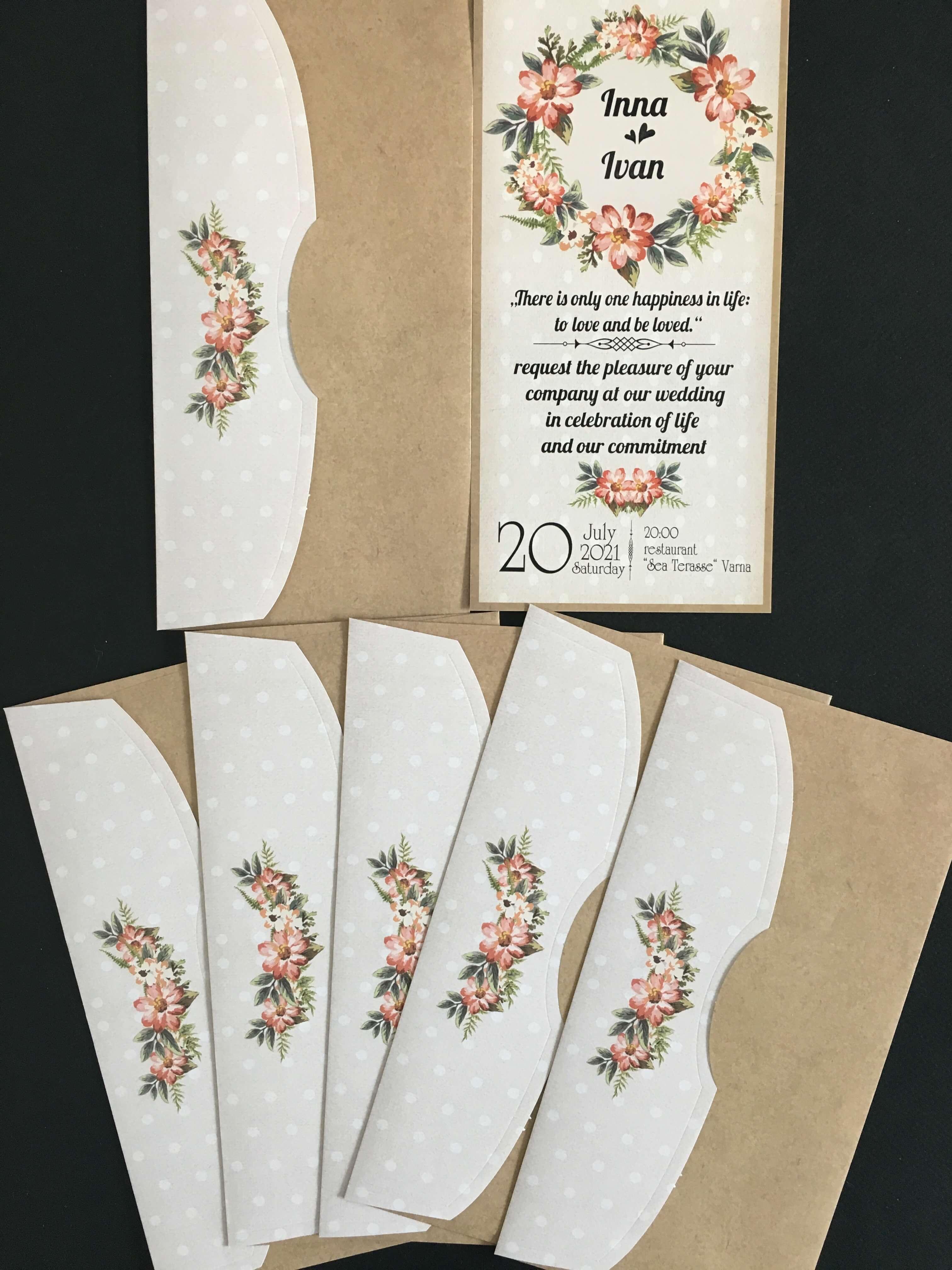 light grey rustic floral wedding invitation