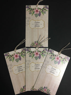 Wood Effect Floral Wedding Invitations UK