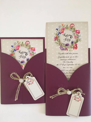 mauve wedding invitations- weddingcardsuk.com