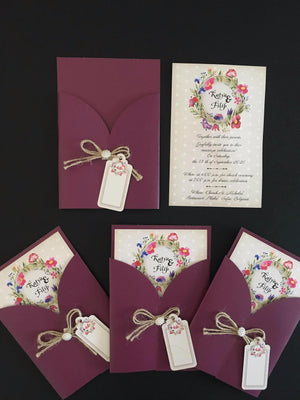 mauve colour pocket wedding invitation - weddingcardsuk.com