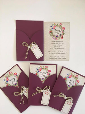 mauve wedding invitation uk - weddingcardsuk.com
