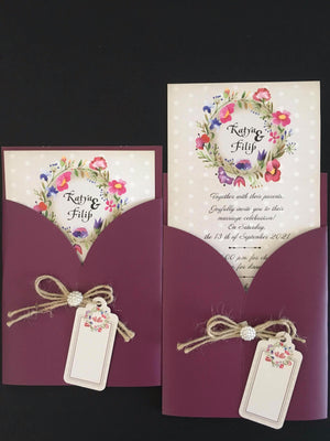 mauve wedding invitation - weddingcardsuk.com