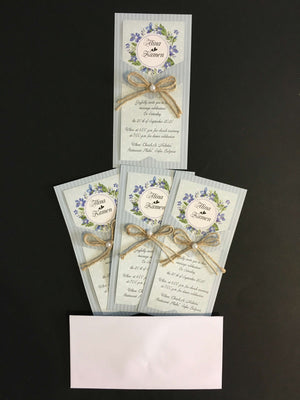 blue rustic wedding invites