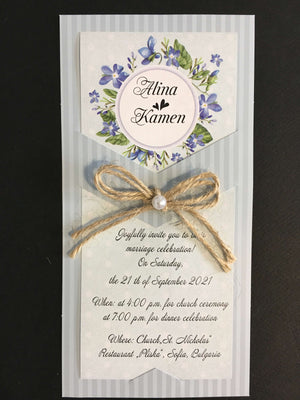 light blue rustic wedding invitations