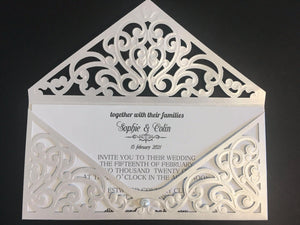 Laser Cut Envelope wedding cards - weddingcardsuk.com