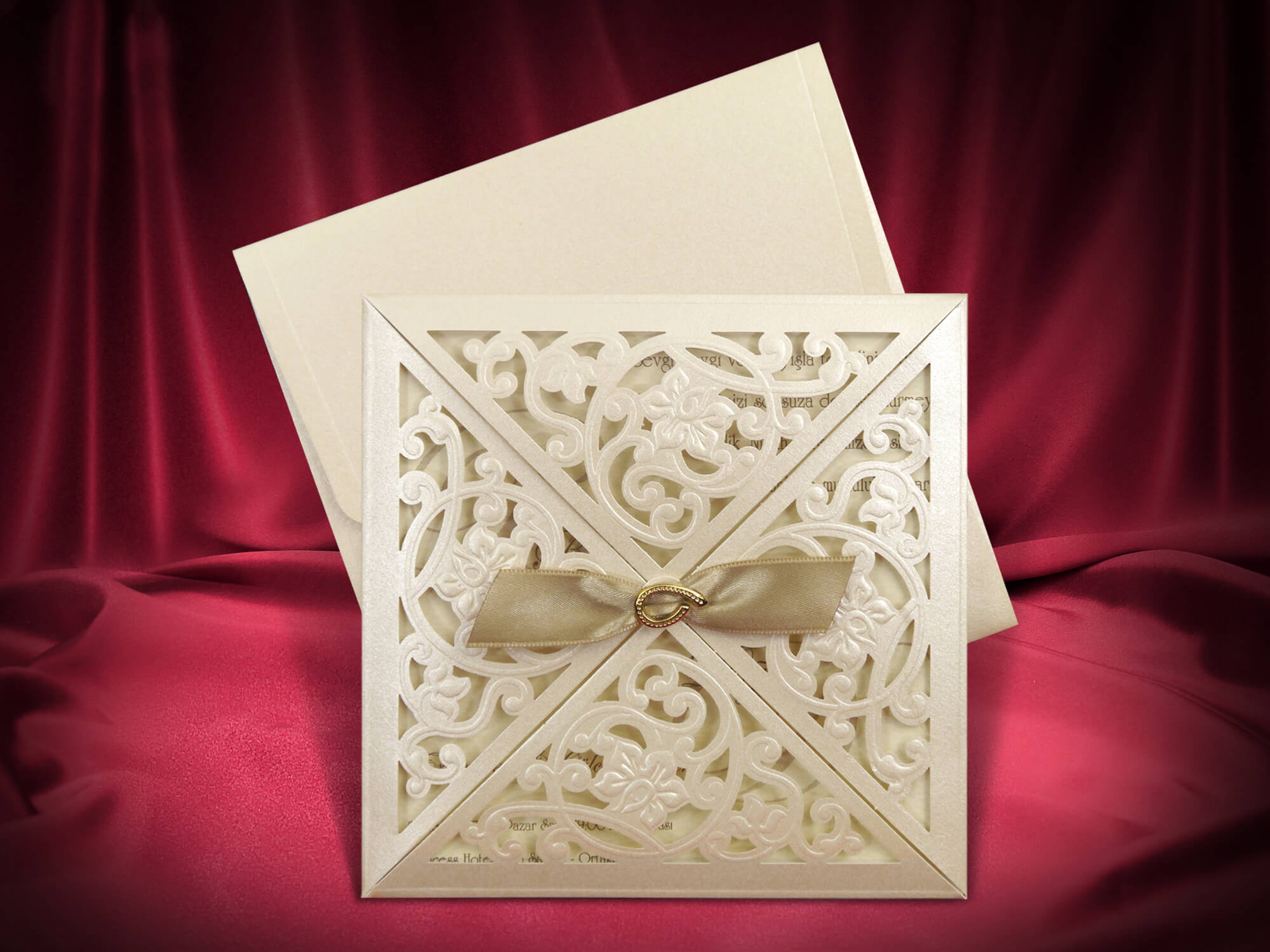 Four Sides Opening Laser Cut Wedding Invitations - weddingcardsuk.com