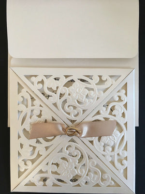 Flower Design Laser Cut Wedding Invitations - weddingcardsuk.com