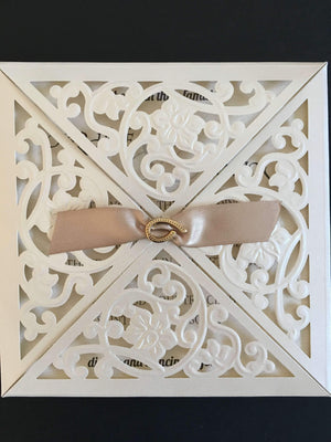 Laser Cut Wedding Invitations Four Sides Opening - weddingcardsuk.com