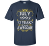 Image of Awesome July 1992 - 25th Birthday Gifts Funny Tshirt Halloween best shirt