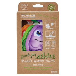 Little Mashies Reusable Squeeze Pouch 130ml - 3 Colours, 2 Pack