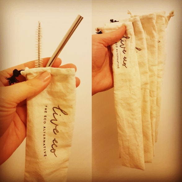 Live Eco Calico Pouch (for straw and/or cutlery) - 2 Sizes